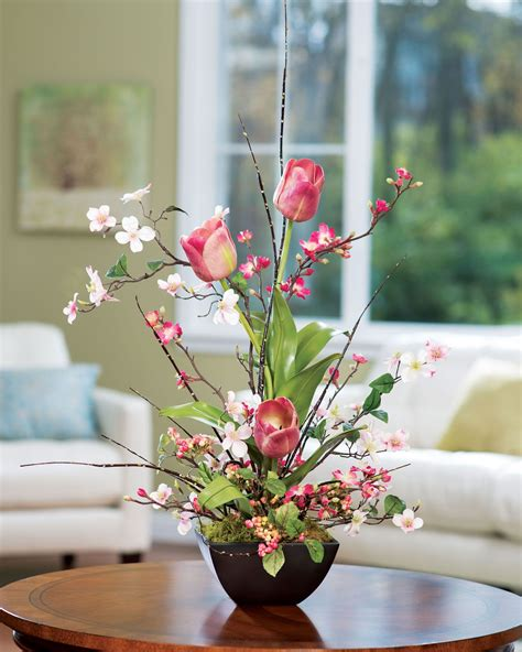 cherry blossom arrangements cherry blossom dogwood tulip silk flower arrangement flower arrangements spaces and silk