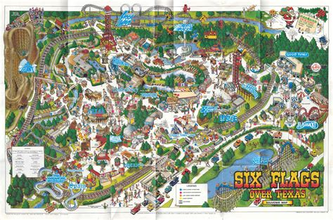 six flags texas park map theme park brochures six flags texas theme park brochures