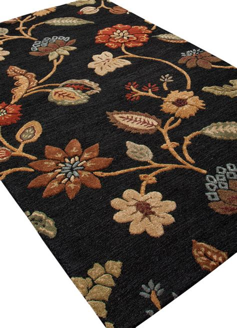 Black Floral Area Rug Tufted Floral Pattern Wool Silk Black Yellow Area Rug 2 X 3 Transitional Rugs
