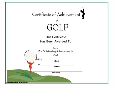 free golf handicap certificate template printable golf gift certificate template