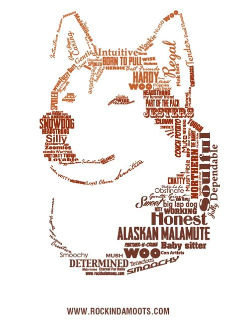 words to describe dogs quot my of malamute quot design created from the words our fans used to