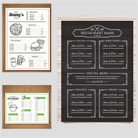restaurant menu templates vector vector graphics blog