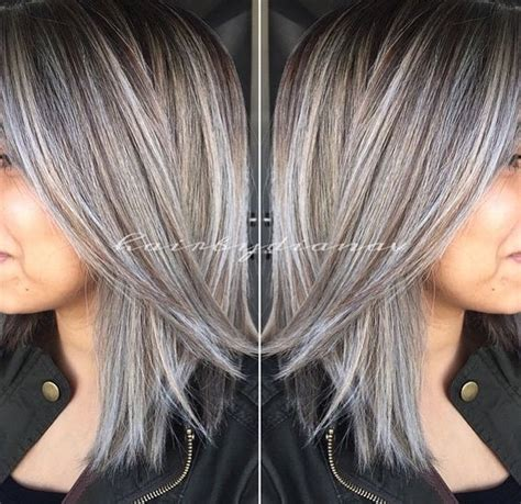 brown hair with grey highlights best 25 silver highlights ideas on pinterest