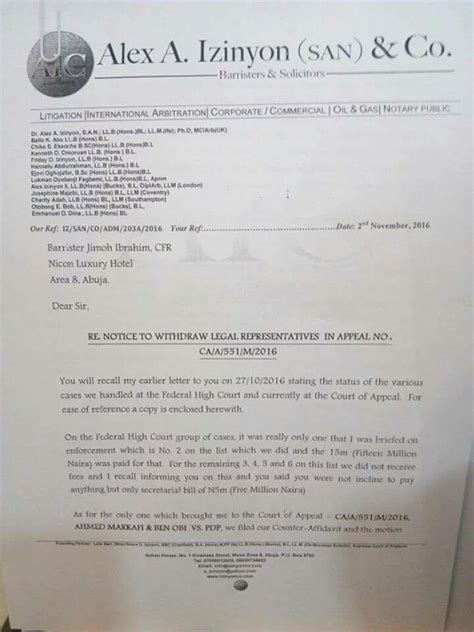 Withdrawal Letter Lawyer ondo election see the copy of letter jimoh ibrahim s