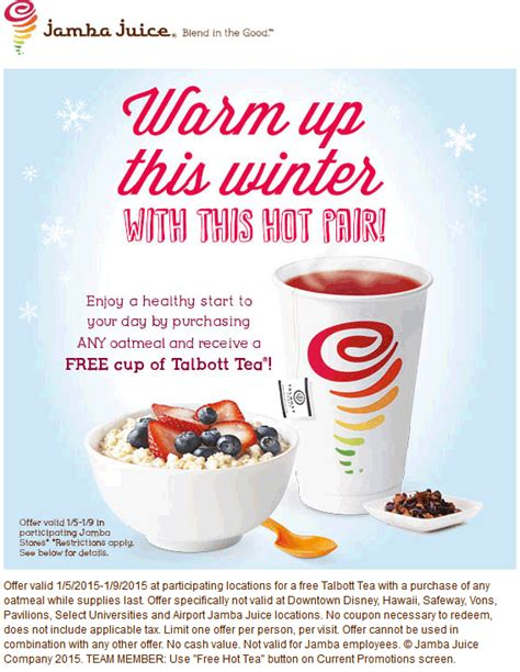 A Tastetea Reminder And Free Tea Offer by Jamba Juice Coupon March 2015 Free Tea With Your