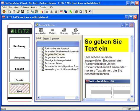 Word Vorlage Leitz Ordner Anleitung F 252 R R 252 Ckenschilder Beschriften Mit Neteasyprint