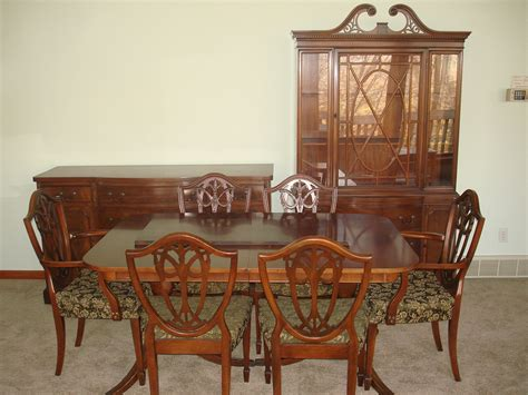 DUNCAN PHYFE DINING ROOM SET DOUBLE PEDESTAL TABLE CHAIRS BUFFET CHINA CABINET   eBay