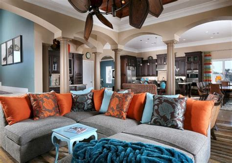 very attractive blue and brown living room orange blue and brown living room pillow decoor