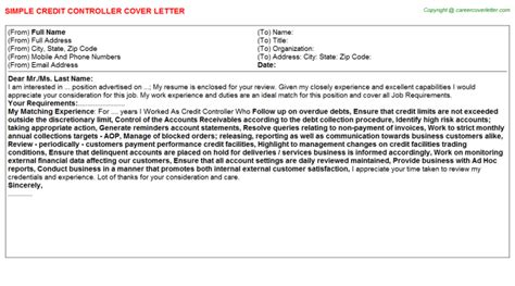 Internship Letter Of Credit credit controller cover letters sles