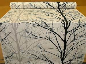 woodland tree print fabric black grey white funky upholstery