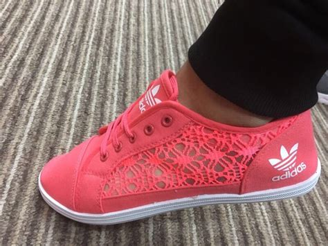 adidas lace pump trainers size  coral pink