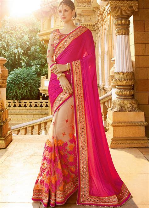 Orderan A N Sari pink half n half designer saree express 1417sr01