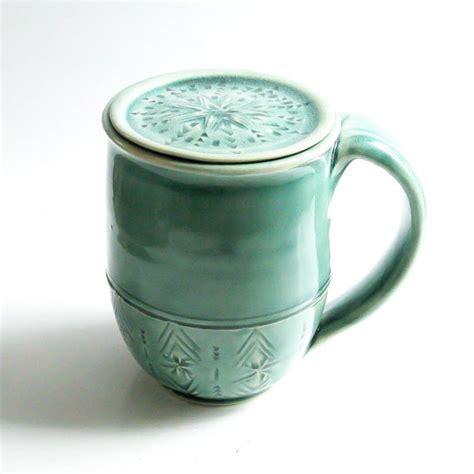 Handmade Coffee Mug with Lid Personalized Mug Lidded Pottery