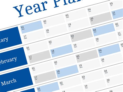 free yearly planner adenda for 2018 year big wall