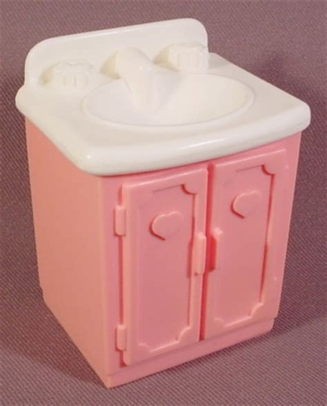 Fisher Price Vanity Table by Fisher Price Dollhouse 1993 Pink Vanity With White