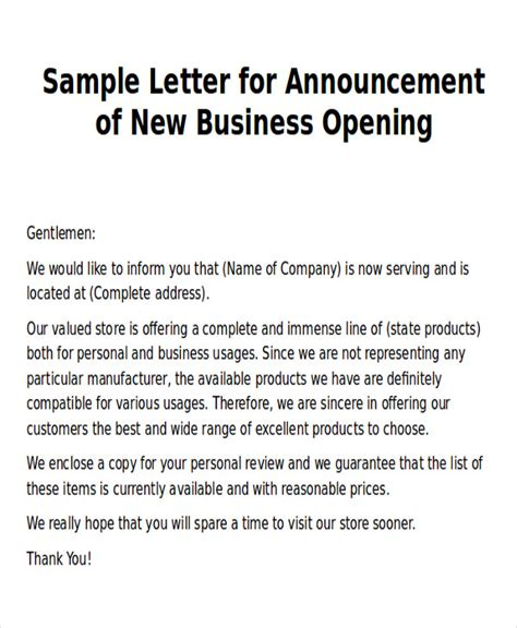 templates for new business announcements sle new business letters 6 exles in word pdf