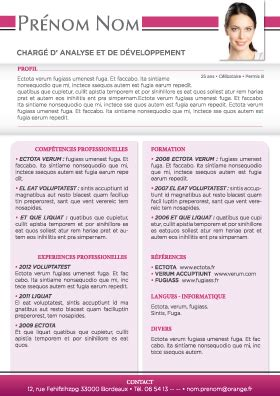 modele de cv actuel contrat de travail 2018