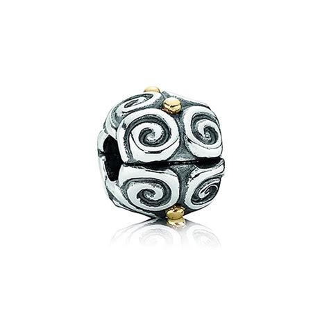 pandora silver and 14ct gold swirl clip charm 790594