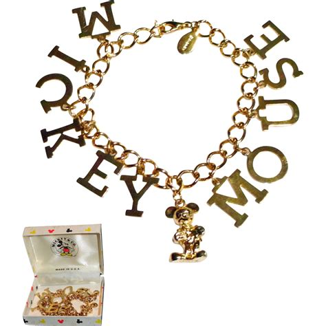 disney mickey mouse gold plated charm bracelet in original