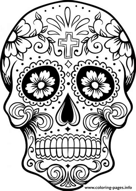 coloring pages for adults of skulls print intricating sugar skull printable for adults