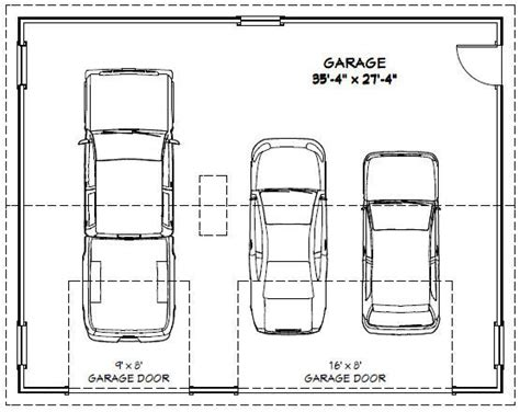 size of 3 car garage 36x28 3 car garage 1 008 sq ft pdf floor plan