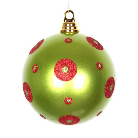 vickerman 341476 6 quot lime red polka dot candy ball