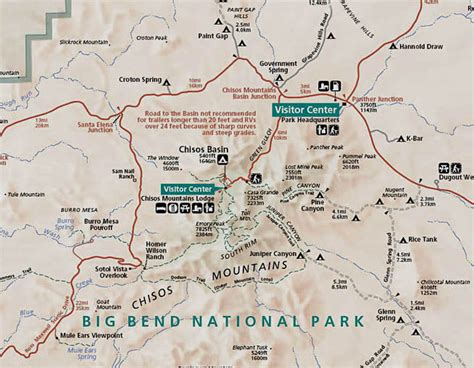big bend texas map south of the chisos mountains big bend national park