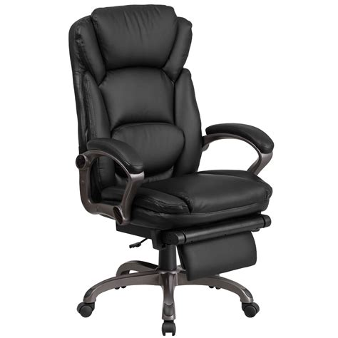 high  black leather executive reclining ergonomic swivel office chair  outer lumbar