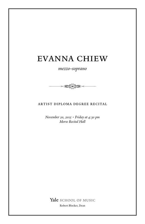 Evanna Chiew Mezzo Soprano By Yale School Of Music Issuu Notary Template Washington State