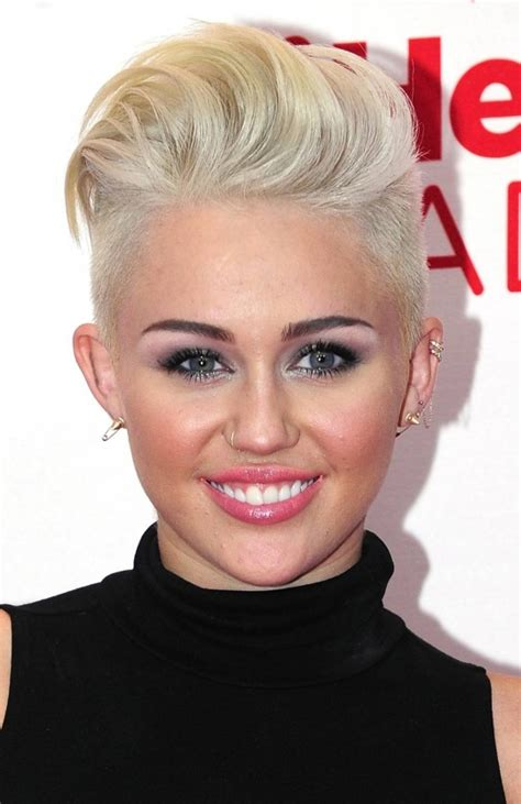 picturs of miley cyrus pink haircut front back and sides celebrities with a shaved edgy look hairstyle women