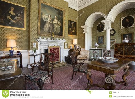drawing room manor house yorkshire england editorial