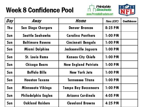 printable nfl schedule for week 2 6 best images of printable football pool sheets 2015 week