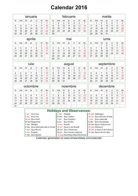 printable calendar 2016 romanesc calendar 2016 pentru printat imagine pdf softulescu