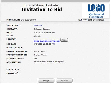 invitation to bid software subcontractor vendor invitation