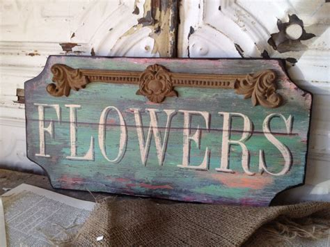 paris flower shop wooden sign shabby cottage chic wall art