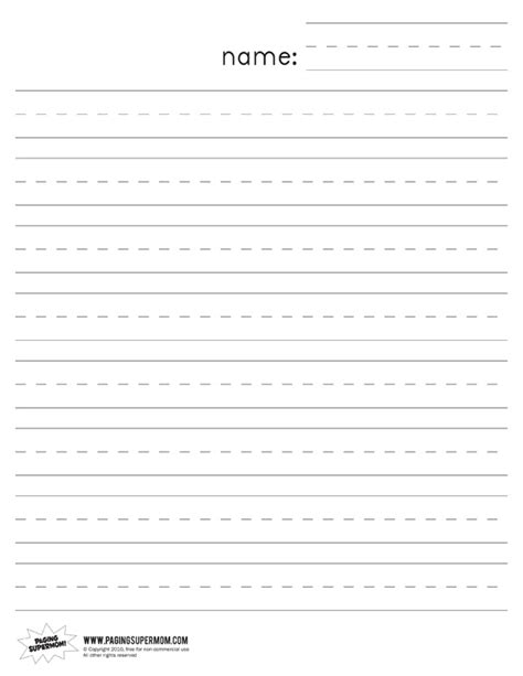 free kindergarten writing paper 6 best images of printable preschool lined paper