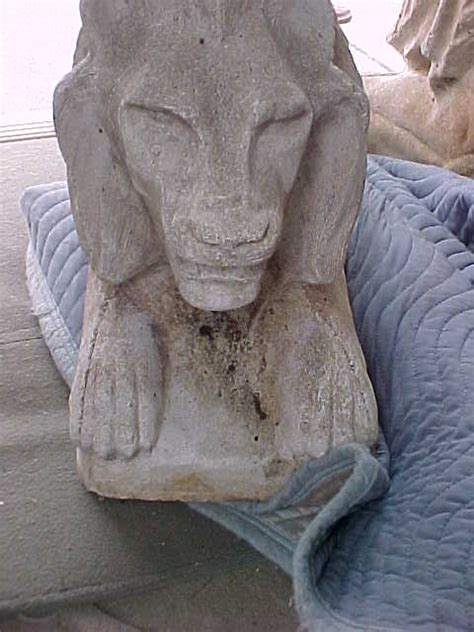 pair  antique garden cement lions obnoxious antiques
