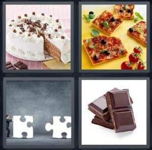 4 pics 1 word answer for cake pizza puzzle chocolate