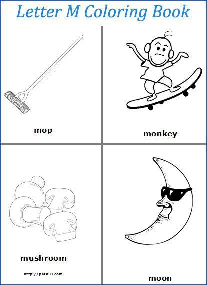 letter m words coloring pages preschool abc letters