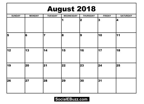 free printable calendar template 2018 august 2018 calendar printable template with holidays pdf