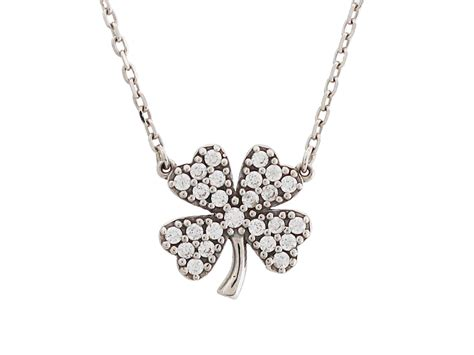 Leaves Silver Collier With Cubic Zirconia P 182 silver four leaf clover cz necklace 925 sterling silver trendy fashion jewelry