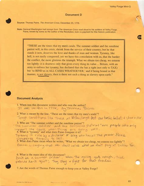 Quit Essay by Valley Forge Mini Q Essay