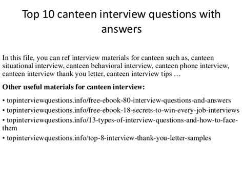 Letter Sle For School Canteen Top 10 Canteen Questions With Answers