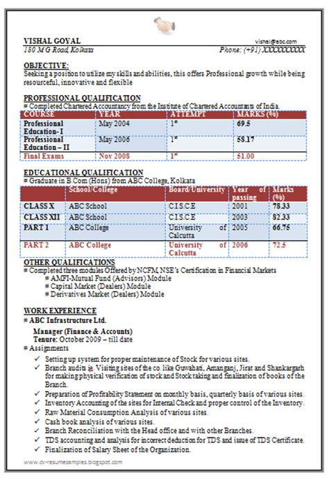 professional resume format for experienced accountant 10000 cv and resume sles with free