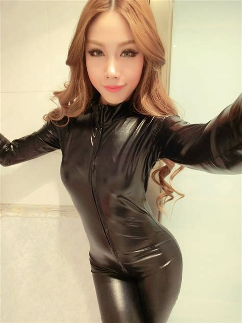 1194kp Pvc Mask Black With Black Pvc Skirt leather catsuit front to back zipper opening accessories madness
