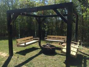 Swings Around Firepit White Pit Swings Diy Projects
