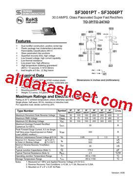 Transistor Sf3006pt sf3006pt datasheet pdf taiwan semiconductor company ltd