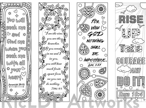 christian bookmarks coloring book 120 bookmarks to color bible bookmarks to color for adults and with inspirational bible verses flower and seniors volume 1 books 8 bible verse coloring bookmarks ricldp artworks