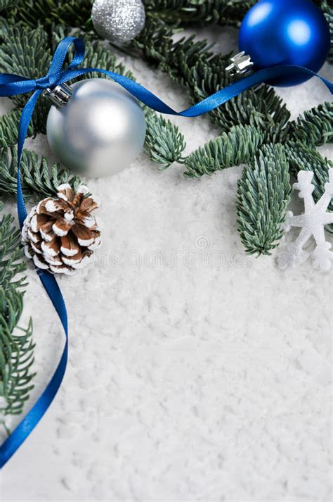 blue and silver cone christmas tree blue and silver border stock image image of card banner 78376419
