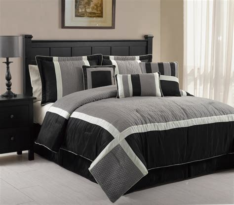 gray queen comforter sets 7pcs queen blaine black and grey comforter set